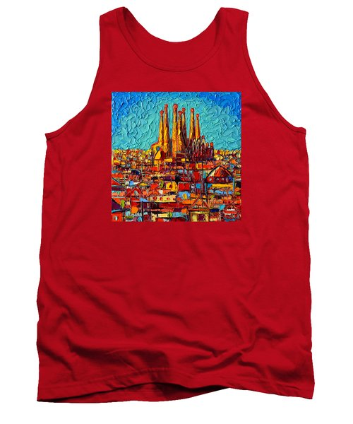 Barcelona Abstract Cityscape - Sagrada Familia Tank Top by Ana Maria Edulescu