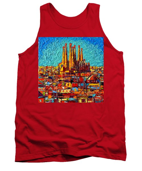 Barcelona Abstract Cityscape - Sagrada Familia Tank Top