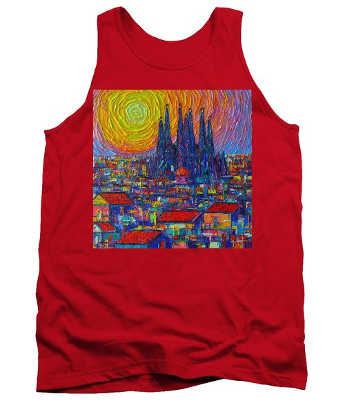 Barcelona Colorful Sunset Over Sagrada Familia Abstract City Knife Oil Painting Ana Maria Edulescu Tank Top