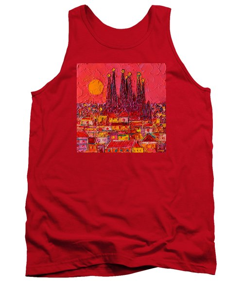 Barcelona Moon Over Sagrada Familia - Palette Knife Oil Painting By Ana Maria Edulescu Tank Top by Ana Maria Edulescu