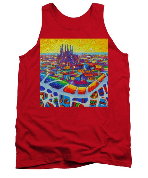 Barcelona View Sagrada From Park Guell Impressionist Abstract City Knife Painting Ana Maria Edulescu Tank Top