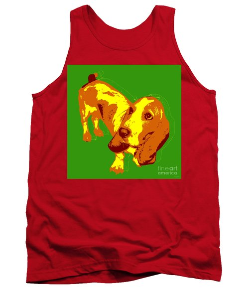 Tank Top featuring the digital art Basset Hound Pop Art by Jean luc Comperat