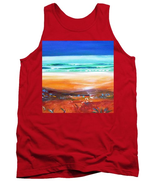 Tank Top featuring the painting Beach Joy by Winsome Gunning
