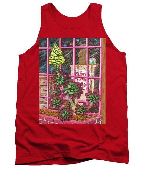 Tank Top featuring the painting Beach Side Storefront Window by Katherine Young-Beck