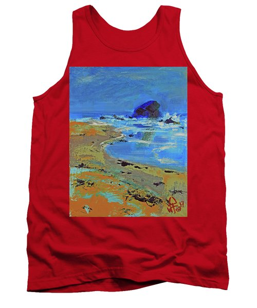 Tank Top featuring the painting Beach Solitude by Walter Fahmy
