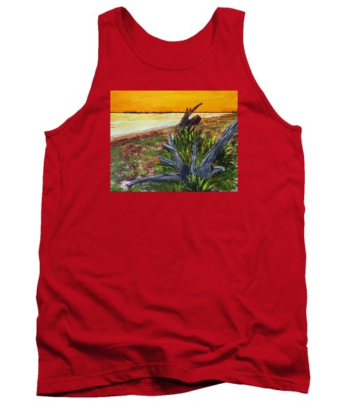 Tank Top featuring the painting Beach Sunset by Jack G  Brauer