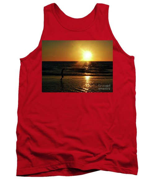 Tank Top featuring the photograph Beach Walking by Gary Wonning