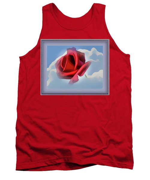Beautiful Red Rose Cuddled By Cumulus Tank Top