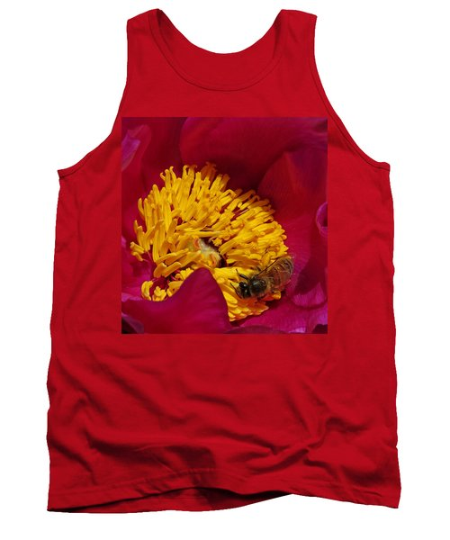 Bee On A Burgundy And Yellow Flower2 Tank Top