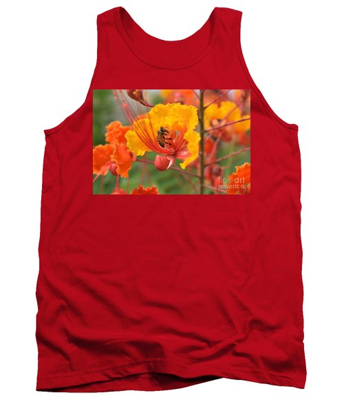 Bee Pollinating Bird Of Paradise Tank Top