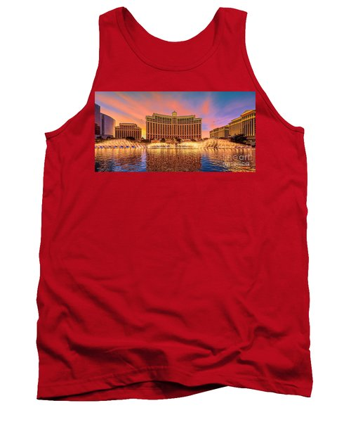 Bellagio Fountains Warm Sunset 2 To 1 Ratio Tank Top
