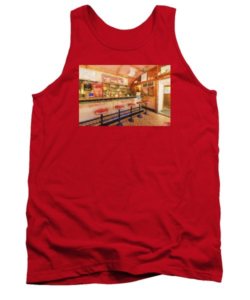 Tank Top featuring the photograph Bellows Falls Diner by Tom Singleton