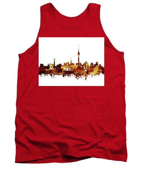 Berlin City Skyline Brown Tank Top by Bekim Art
