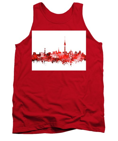 Berlin City Skyline Red Tank Top by Bekim Art