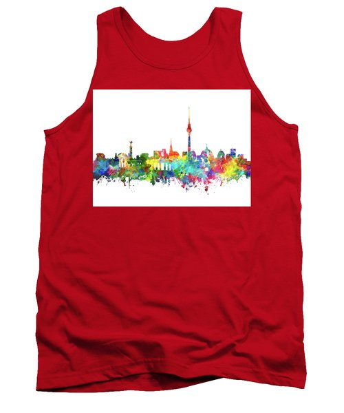 Berlin City Skyline Watercolor Tank Top by Bekim Art