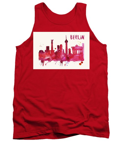 Berlin Skyline Watercolor Poster - Cityscape Painting Artwork Tank Top