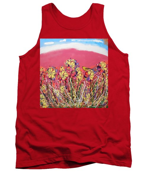 Berry Pink Flower Garden Tank Top