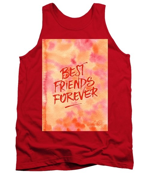 Best Friends Forever Handpainted Abstract Watercolor Pink Orange Tank Top