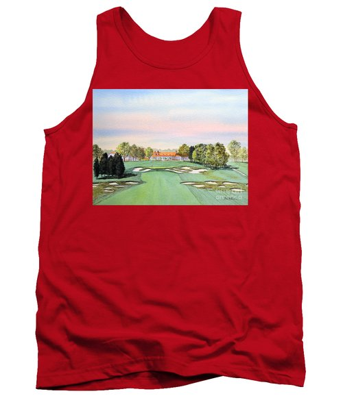 Tank Top featuring the painting Bethpage State Park Golf Course 18th Hole by Bill Holkham