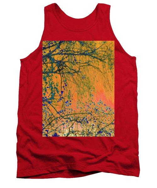 Birch Tree And Orange Sky - Winter Tank Top