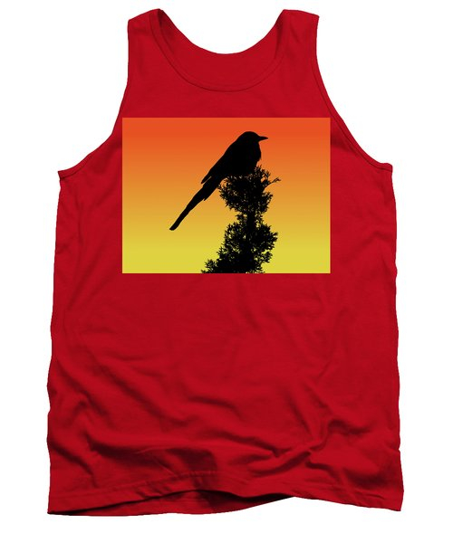Black-billed Magpie Silhouette At Sunset Tank Top
