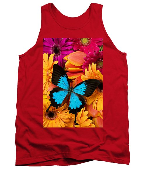 Blue Butterfly On Brightly Colored Flowers Tank Top