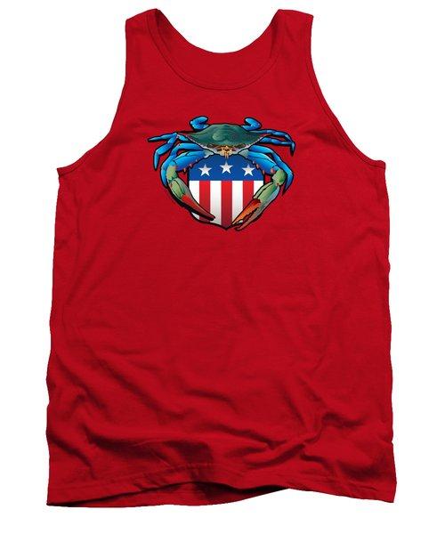 Blue Crab Usa Crest  Tank Top