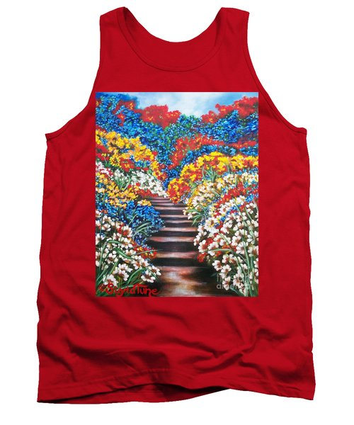 Tank Top featuring the painting Chloe The   Flying Lamb Productions        Blue Garden Cascade by Sigrid Tune