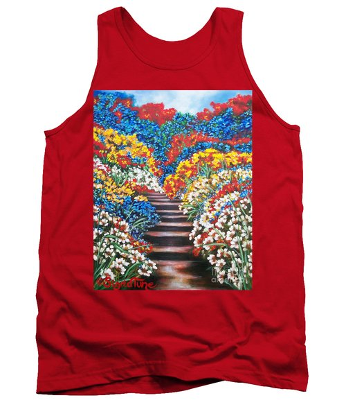 Chloe The   Flying Lamb Productions        Blue Garden Cascade Tank Top