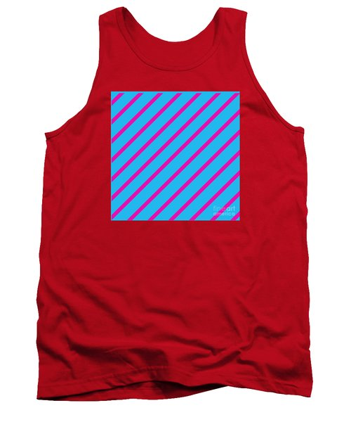 Blue Pink Angled Stripes Abstract Tank Top