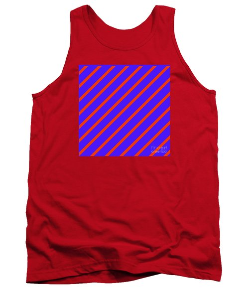 Blue Red Angled Stripes Abstract Tank Top