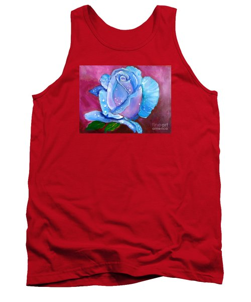 Blue Rose With Dew Drops Tank Top by Jenny Lee