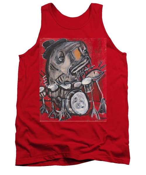 Blues Cat Drums Tank Top