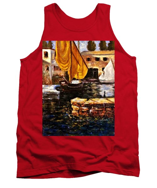 Boat With Golden Sail,san Vigilio  Tank Top