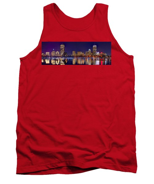 Tank Top featuring the photograph Boston Back Bay Skyline At Night 2017 Color Panorama 1 To 3 Ratio by Jon Holiday