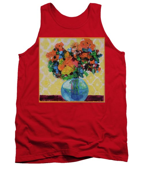 Bouquet-a-day #7 Original Acrylic Painting Free Shipping 59.00 By Elaine Elliott Tank Top by Elaine Elliott