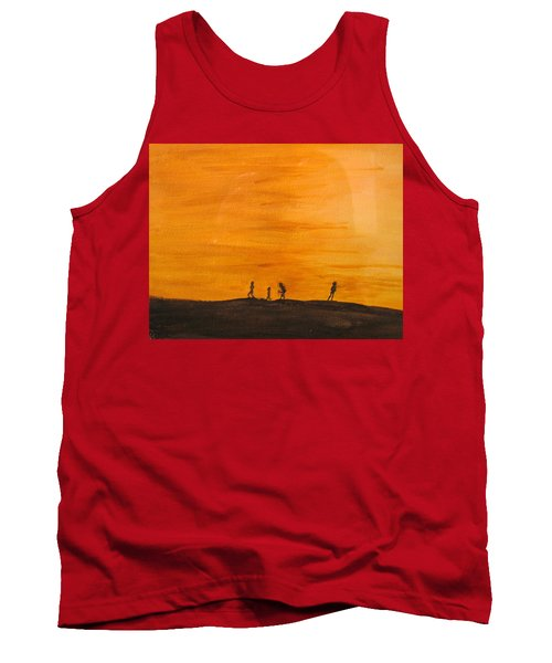 Tank Top featuring the painting Boys At Sunset by Ian  MacDonald