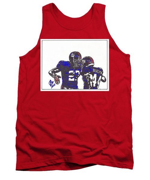 Tank Top featuring the drawing Brandon Jacobs And Ahmad Bradshaw by Jeremiah Colley