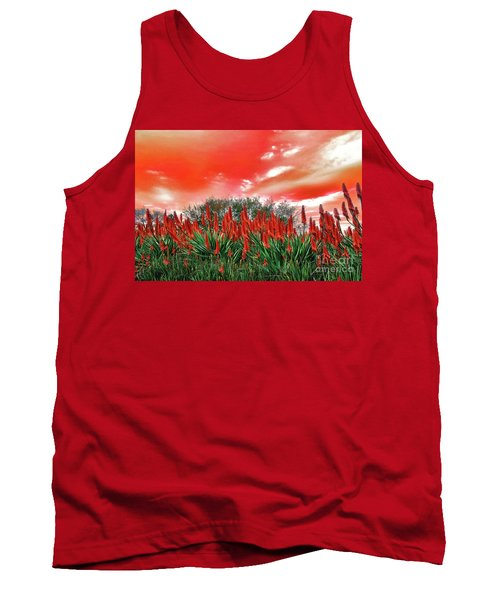 Tank Top featuring the photograph Bright Red Aloe Flowers By Kaye Menner by Kaye Menner