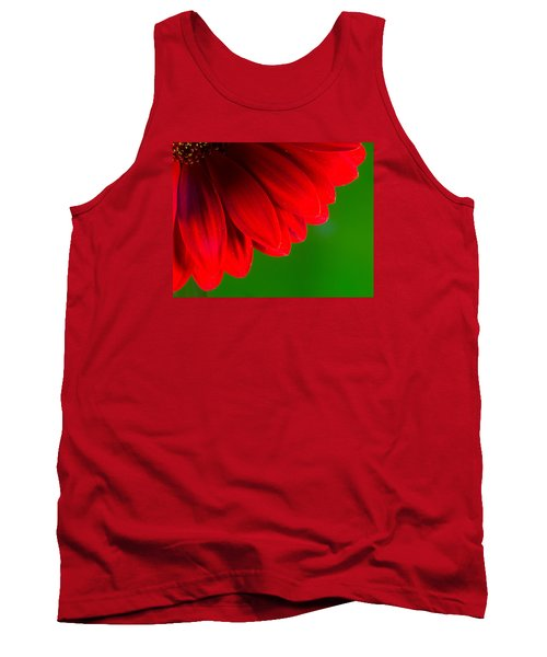 Bright Red Chrysanthemum Flower Petals And Stamen Tank Top by John Williams