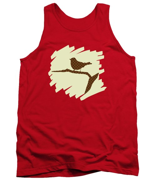 Brown Bird Silhouette Modern Bird Art Tank Top by Christina Rollo