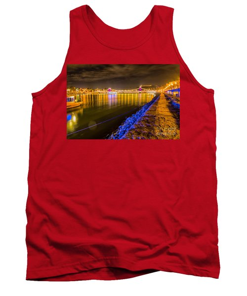 Tank Top featuring the photograph Budapest At Night Lanchid Chain Bridge by Jivko Nakev