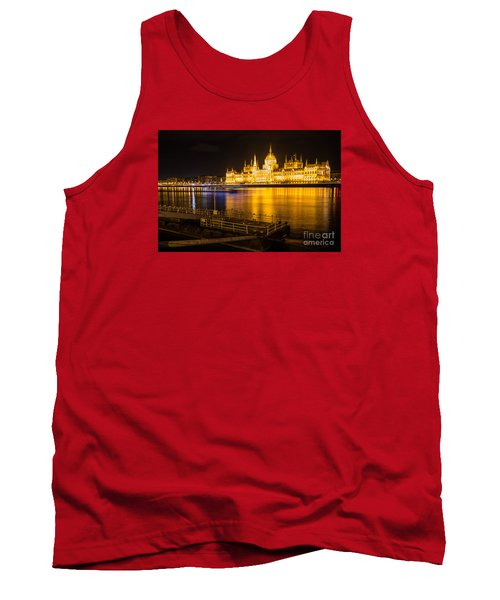 Tank Top featuring the photograph Budapest Night View Parliament by Jivko Nakev