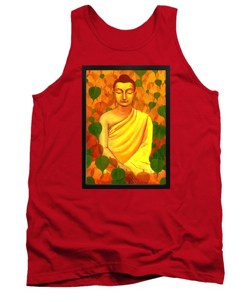 Buddha In Green Leaves Tank Top