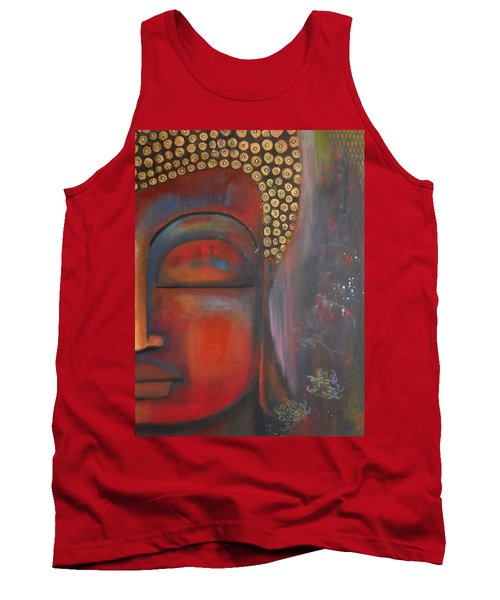 Buddha With Floating Lotuses Tank Top by Prerna Poojara