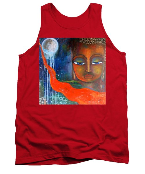 Buddhas Robe Reaching For The Moon Tank Top by Prerna Poojara