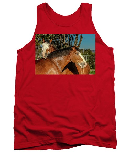 Tank Top featuring the photograph Budweiser Clydesdales  by Bill Gallagher