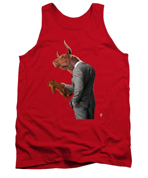 Tank Top featuring the drawing Bull by Rob Snow