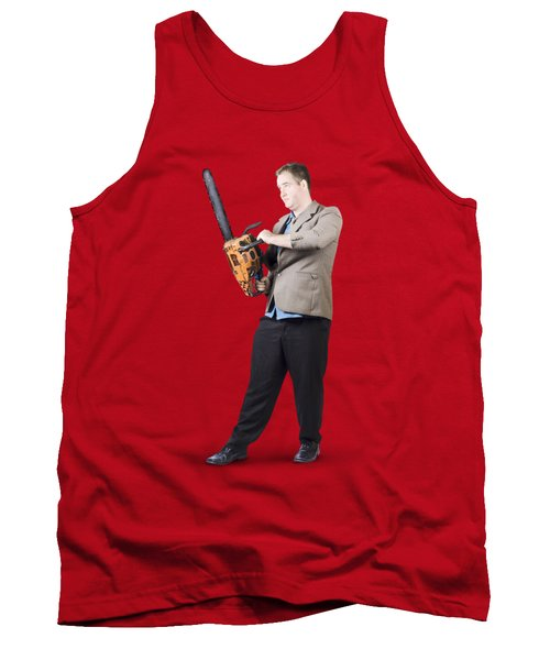 Tank Top featuring the photograph Businessman Holding Portable Chainsaw by Jorgo Photography - Wall Art Gallery