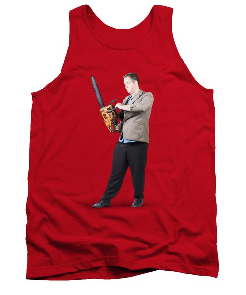 Businessman Holding Portable Chainsaw Tank Top